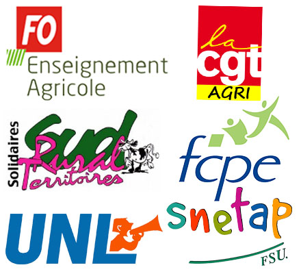 Logos CGT, FCPE, FO, Snetap-FSU, Sud,UNL