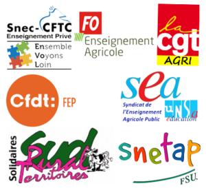 Snetap, CGT Agri, Sud Rural, SEA UNSA, CFDT FEP, Snec CFTC